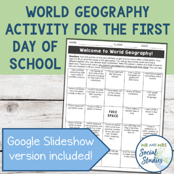 Exciting First Day of School Activity for World Geography