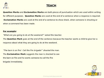 Exclamation Mark and Question Mark Teaching PowerPoint