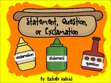 Exclamation, question, or statement sentence word sort center