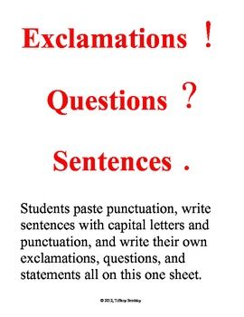 Exclamations, Questions, & Statements -Capital Letters & Punctuation Bell Ringer