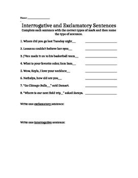 Exclamatory and Interrogative Sentences Assessmsnet PRINTABLE!