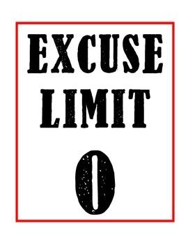 Excuse Limit 0 (Zero) Sign