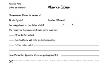 excused absence note for spanish speaking families by