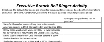 Executive Branch Bell Ringer Activity