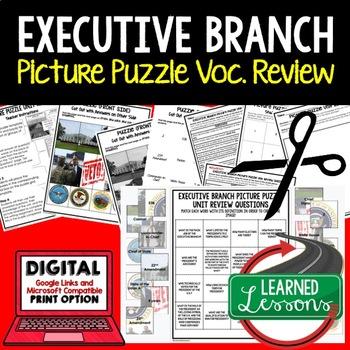 Executive Branch Picture Puzzle Unit Review, Study Guide, Test Prep