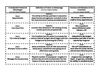 Executive Branch Powers & Checks Matching