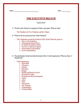 "Executive Branch ""Quick Facts"" questions"