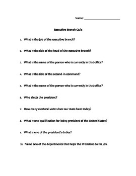 Executive Branch Quiz