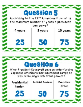 Executive Branch Task Cards Scoot Competition- Article II, President