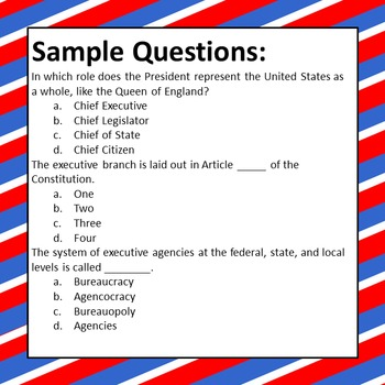 Executive Branch Test - 24 Items
