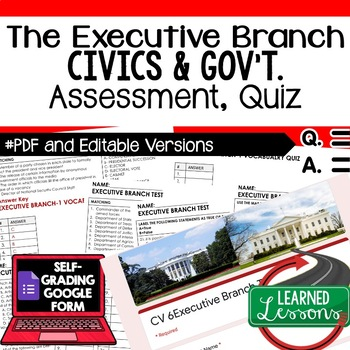 Executive Branch Test, Executive Branch Quiz, Civics Assessment