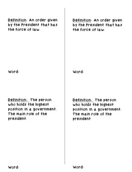 Executive Branch Vocabulary Flip Book- Cut and Paste Activity- Government