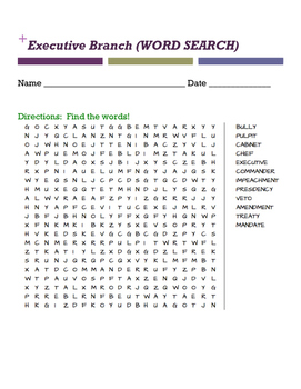 Executive Branch (WORD SEARCH)