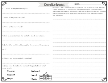 Executive Branch of Government {Differentiated Reading Passages & Questions}