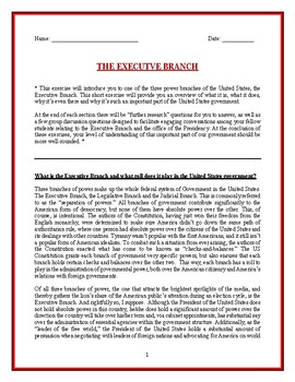 Executive Branch student self-paced lesson and worksheet