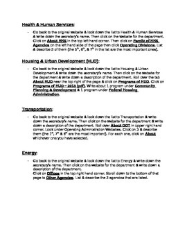 Executive Departments Web Quest Activity