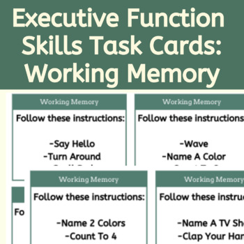 Executive Function Skills: Working Memory Skills Task Cards