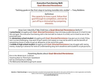 Executive Functioning Goal Oriented Persistence Overview