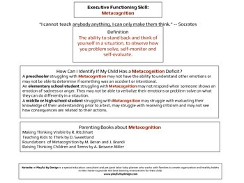 Executive Functioning Metacognition Overview