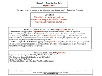Executive Functioning Organization Overview