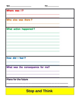 Executive Functioning & Self-Awareness: Thinking about my actions