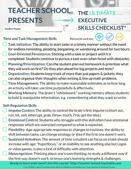 Executive Functioning Skills Checklist