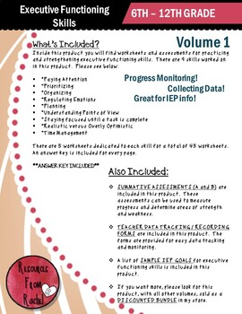 Executive Functioning Skills   Volume 1   Worksheets and ...