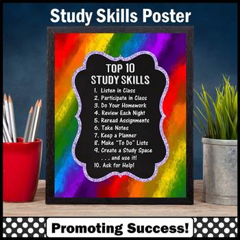 Executive Functioning and Study Skills Poster, Back to School Classroom Decor