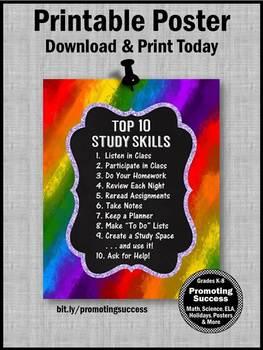 RAINBOW Classroom Decor, Study Skills Poster 8x10 or 16x20