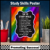 RAINBOW Classroom Decor, Study Skills Poster 8x10 or 16x20 large size