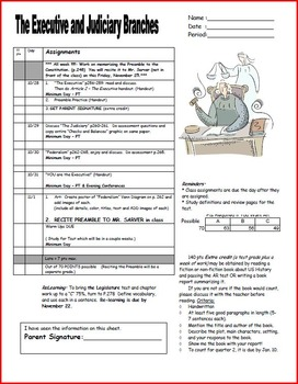 Executive Judiciary Assignment Sheet for Creating America textbook