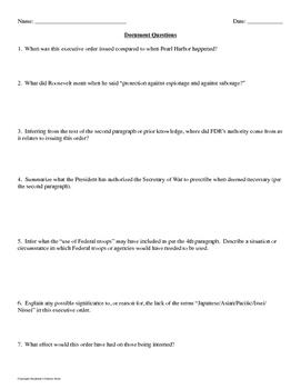 Executive Order 9066 Primary Source Analysis