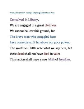 Exemplar Found Poem using Abraham Lincoln's Gettysburg Address