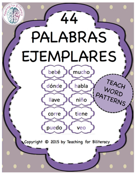 Spanish Word Patterns: Exemplar Word Cards / Palabras Ejemplares