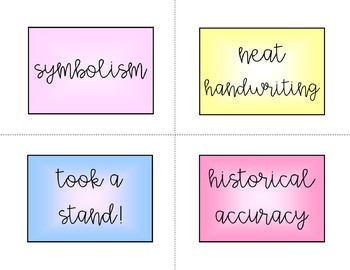 Exemplary Board labels and letters