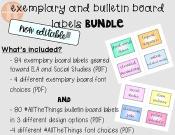 Exemplary and bulletin board labels BUNDLE