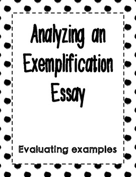 Exemplification Essay Analysis