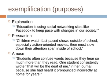 Exemplification (Example) Writing