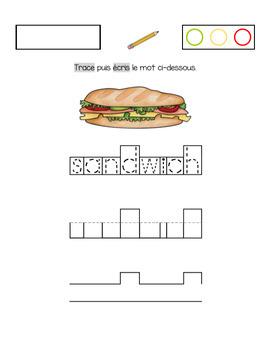 Exercices d'écriture sur le thème des aliments.