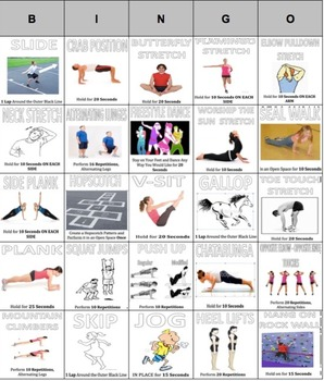 Exercise Bingo!