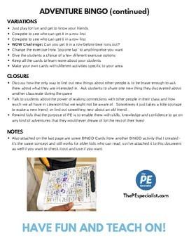 PE Games: Adventure Bingo - Teambuilding Game, Icebreaker, Cooperative Activity