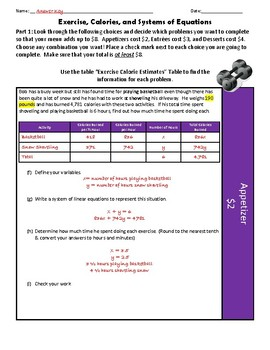 Exercise, Calories, and Solving Systems of Equations