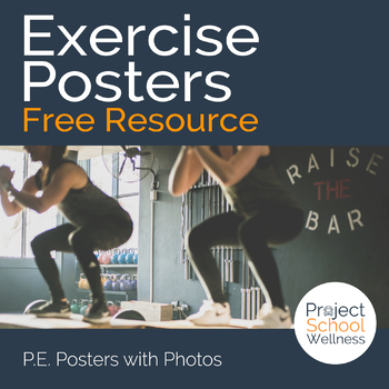 FREEBIE: Exercise Posters - PE Lesson Plans, Fitness Activity, Health, Workout