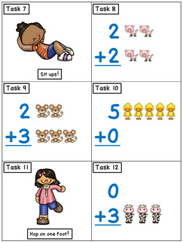 Addition Sums to 5: Math Task cards - Exercise Scoot FREEBIE!