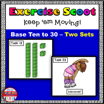 Base Ten to 30: Math Task Cards - Exercise Scoot! Base