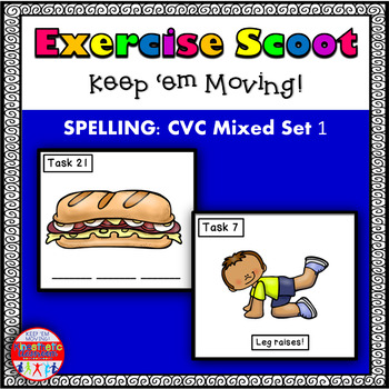 CVC Spelling Mixed: Phonics Task Cards - Exercise Scoot!
