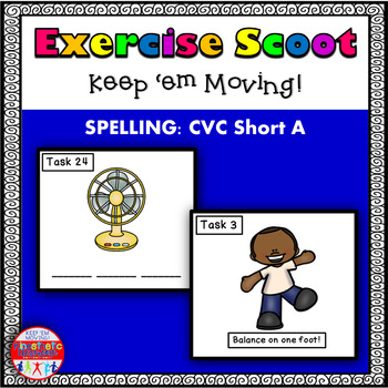 CVC Spelling Short A: Phonics Task Cards - Exercise Scoot!