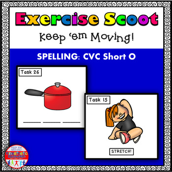 CVC Spelling Short O: Phonics Task Cards - Exercise Scoot!