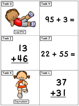 Double Digit Addition Representational Model: Math Task Cards - Exercise Scoot!