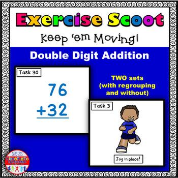Double Digit Addition: Math Task Cards - Exercise Scoot!